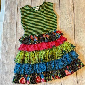 Persnickety Sz 5 Colorful Ruffles Fall Dress